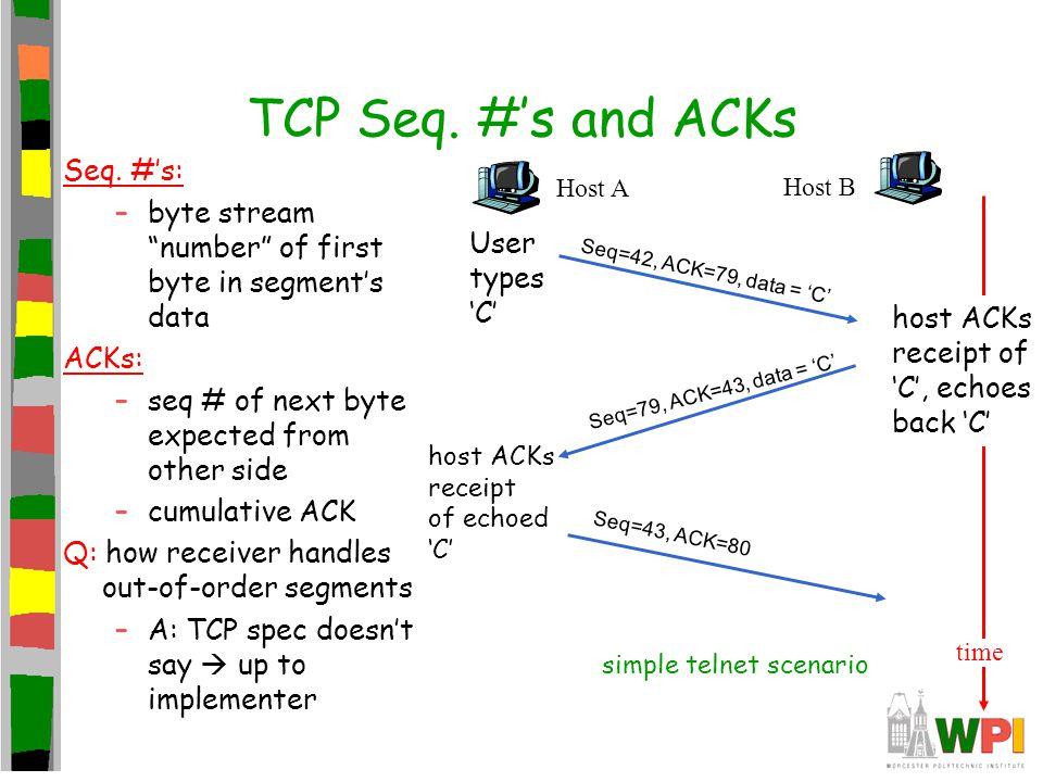 TCP Seq. #'s and ACKs Seq. #'s: