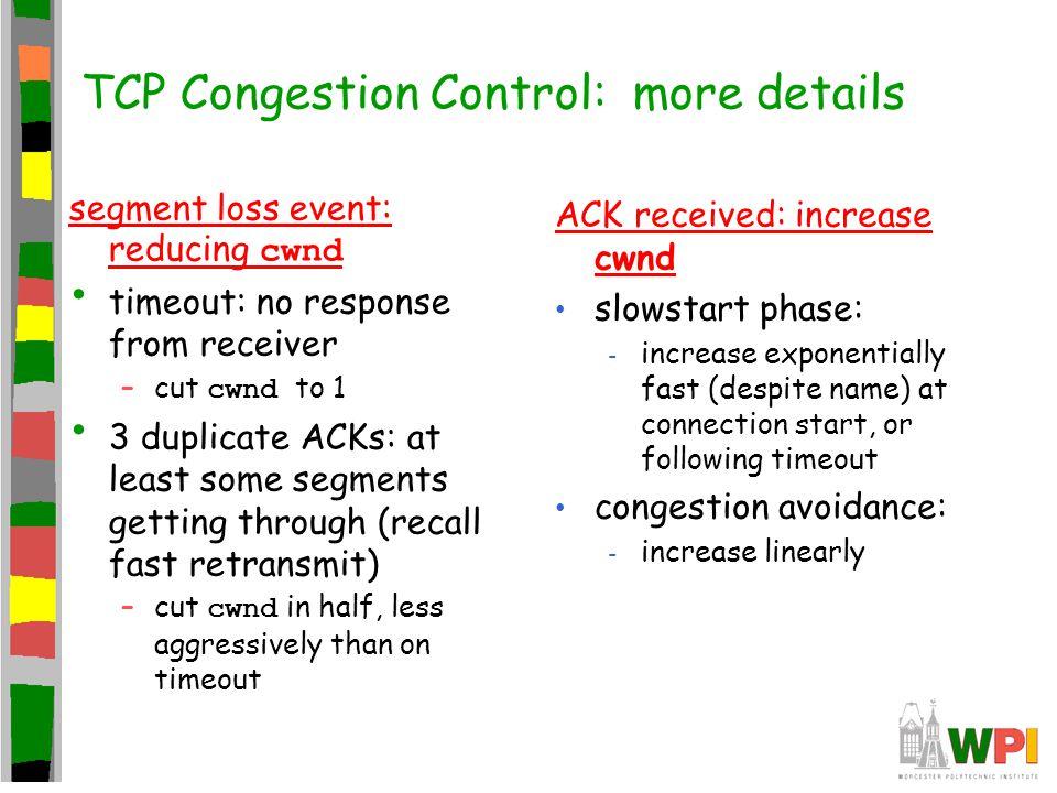 TCP Congestion Control: more details