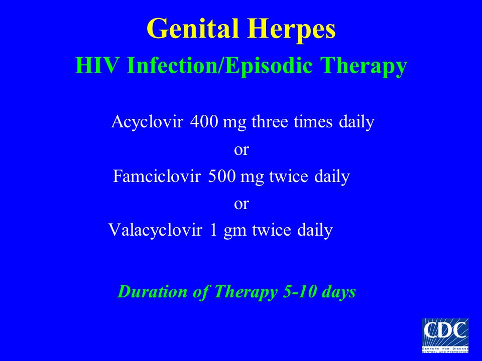 Genital Herpes HIV Infection/Episodic Therapy