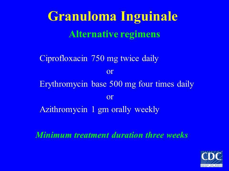 Granuloma Inguinale Alternative regimens