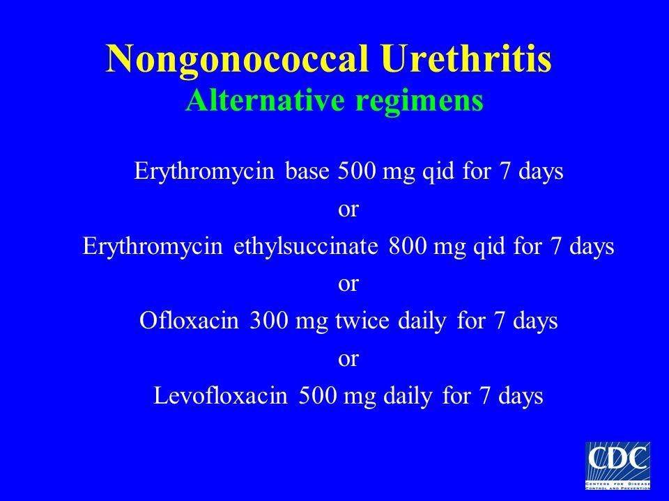 Nongonococcal Urethritis Alternative regimens