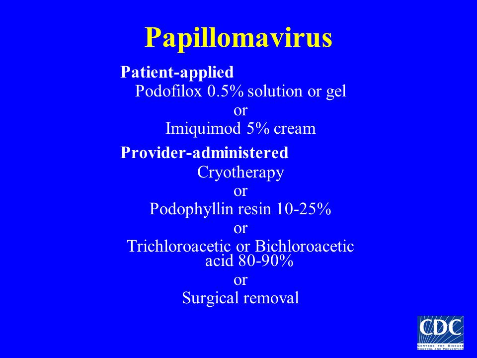 Papillomavirus Patient-applied Podofilox 0.5% solution or gel or