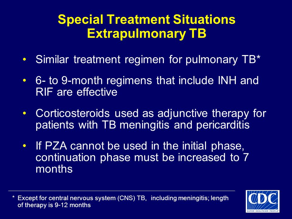 Special Treatment Situations Extrapulmonary TB