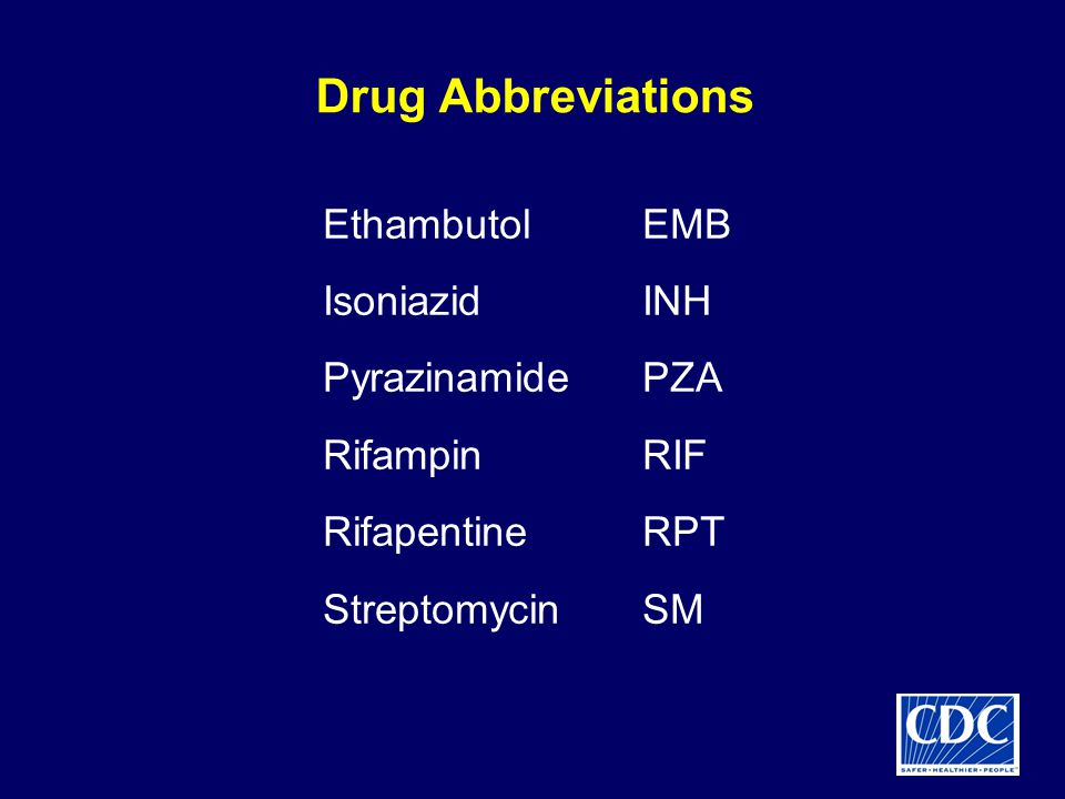 Drug Abbreviations Ethambutol EMB Isoniazid INH Pyrazinamide PZA