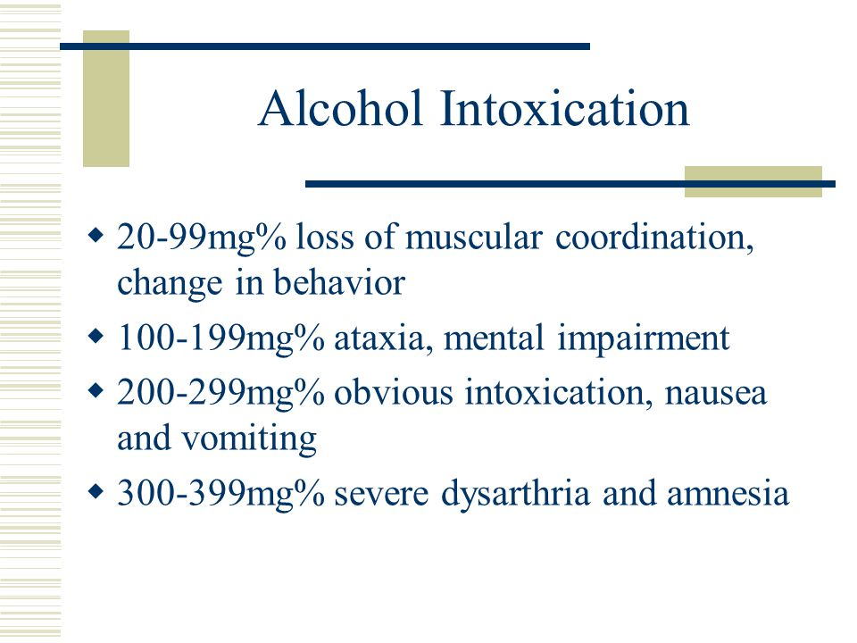 Alcohol Intoxication 20-99mg% loss of muscular coordination, change in behavior. 100-199mg% ataxia, mental impairment.
