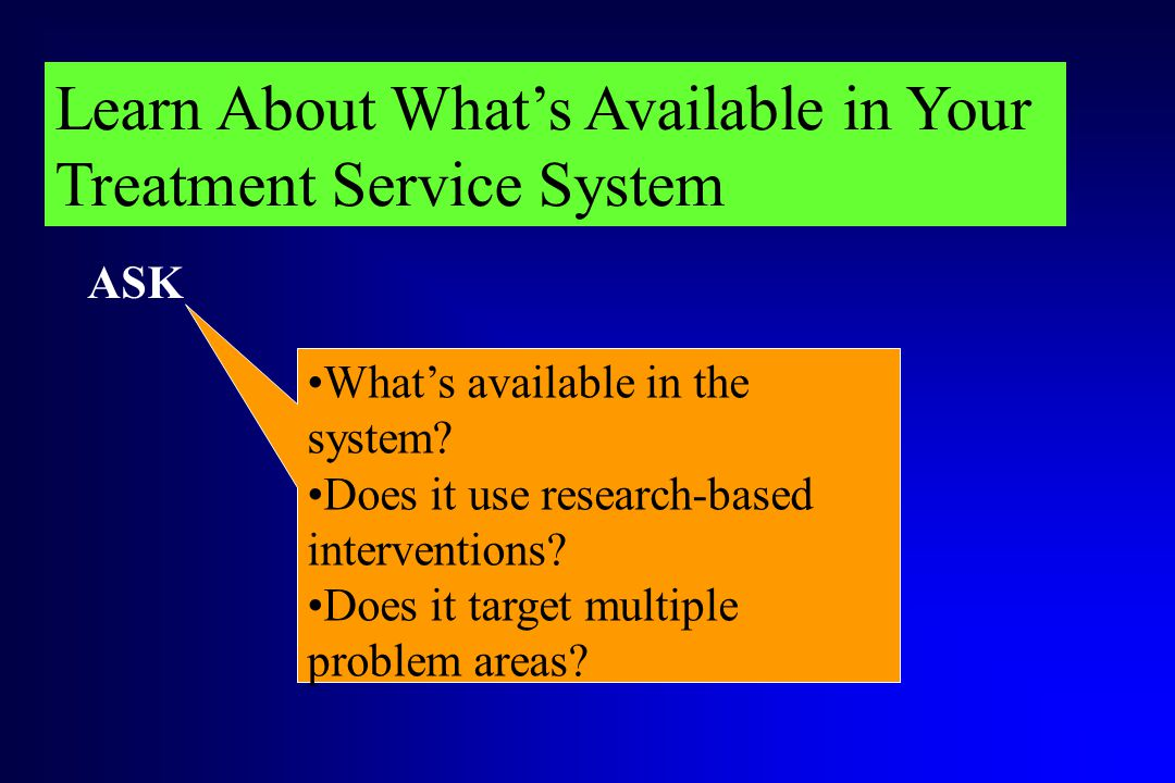 Learn About What's Available in Your Treatment Service System