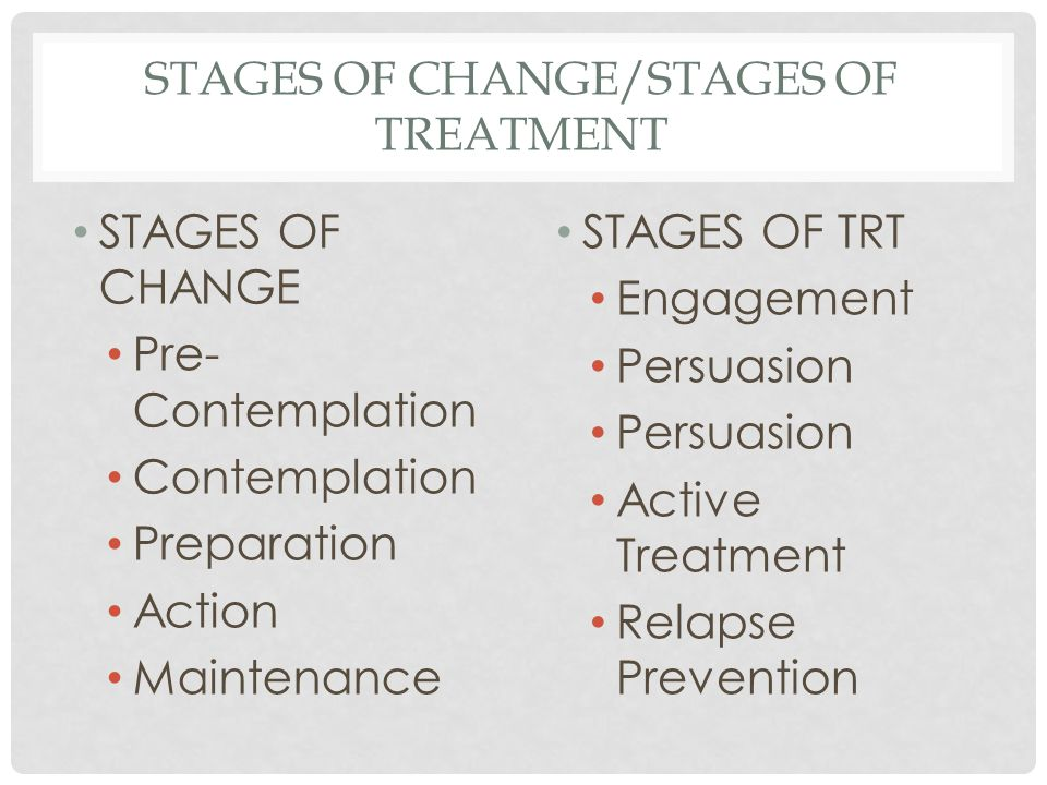 STAGES OF CHANGE/STAGES OF TREATMENT