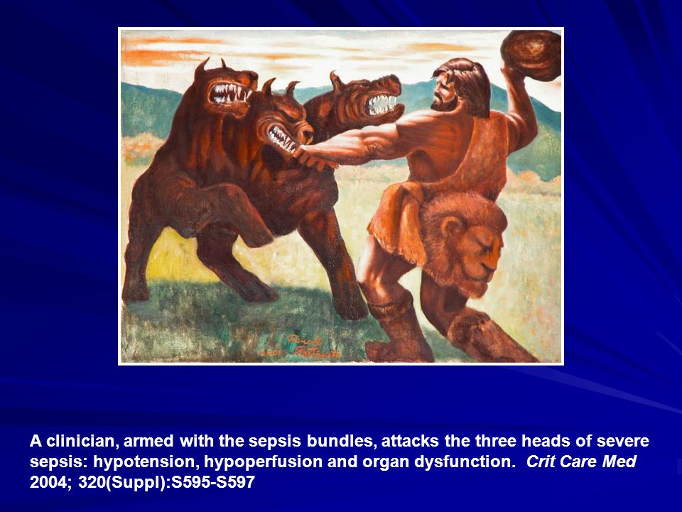 A clinician, armed with the sepsis bundles, attacks the three heads of severe sepsis: hypotension, hypoperfusion and organ dysfunction.