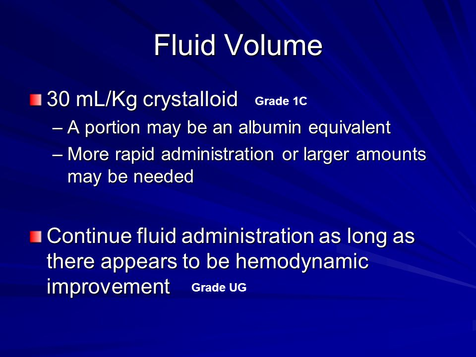 Fluid Volume 30 mL/Kg crystalloid