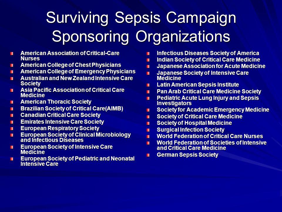 Surviving Sepsis Campaign Sponsoring Organizations