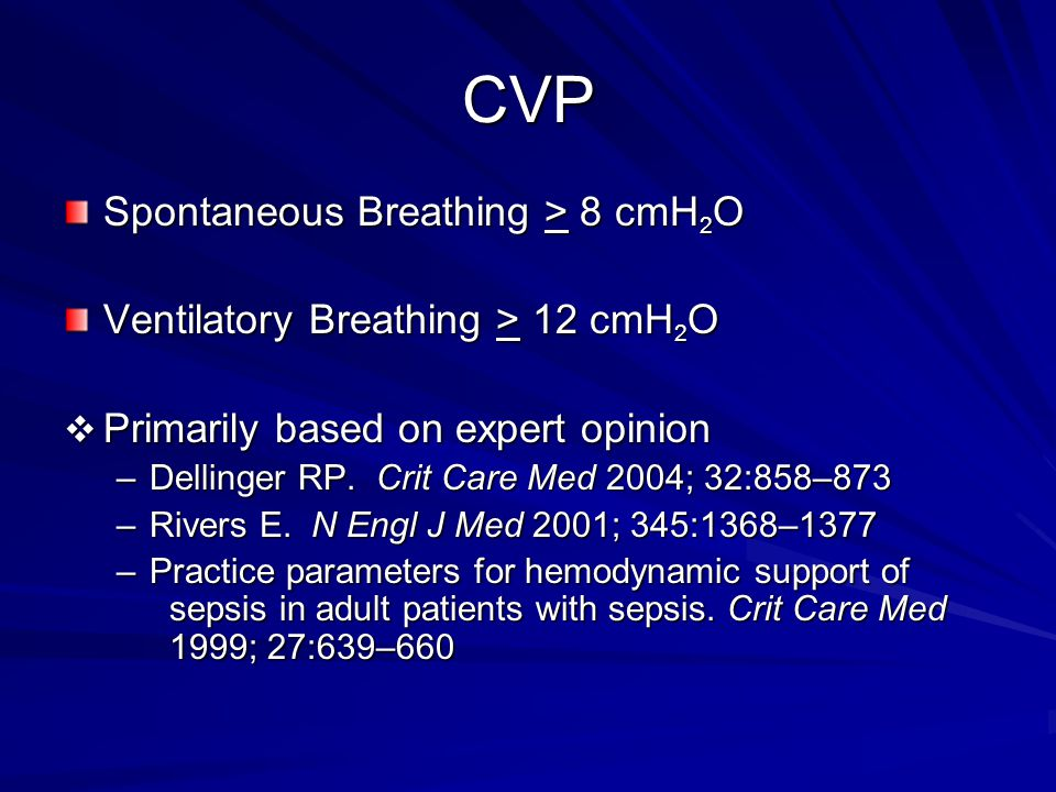 CVP Spontaneous Breathing > 8 cmH2O