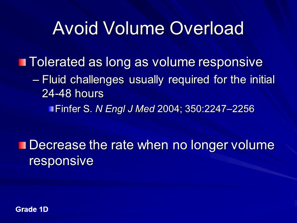 Avoid Volume Overload Tolerated as long as volume responsive