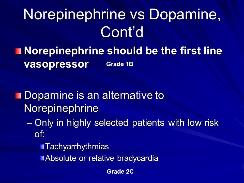 Norepinephrine vs Dopamine, Cont'd