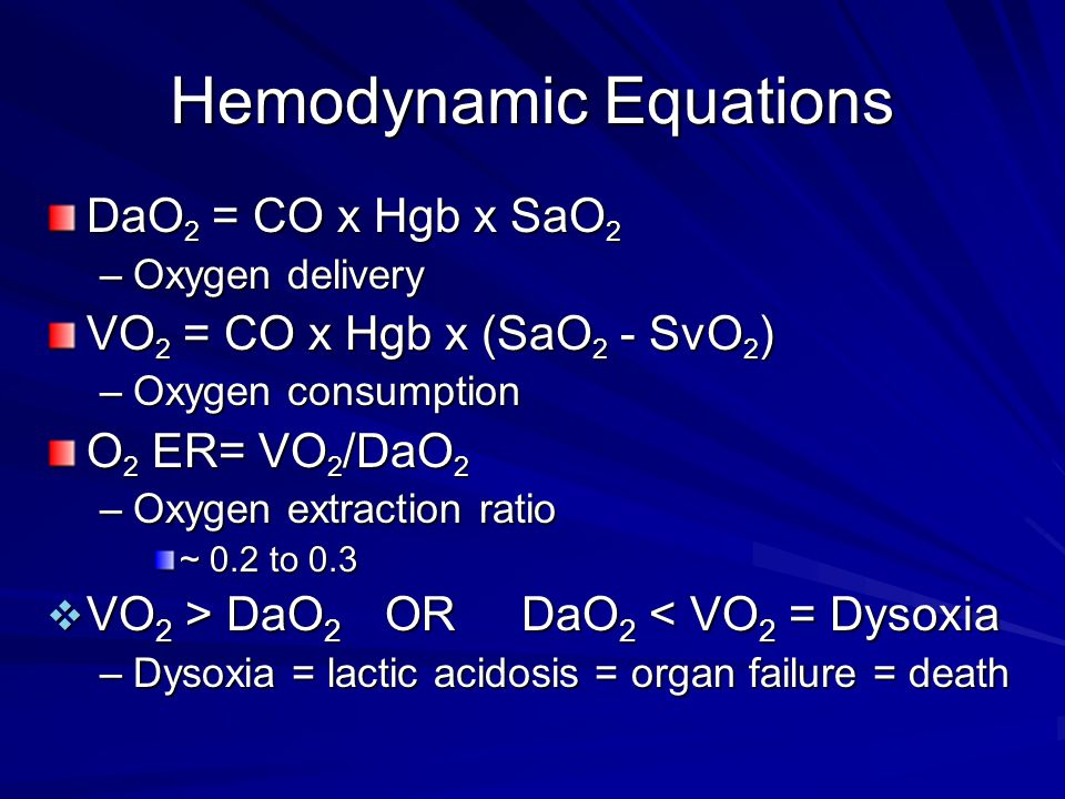 Hemodynamic Equations