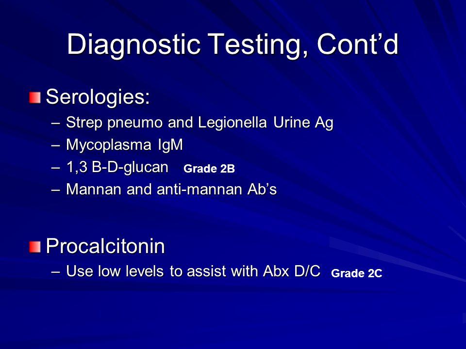 Diagnostic Testing, Cont'd