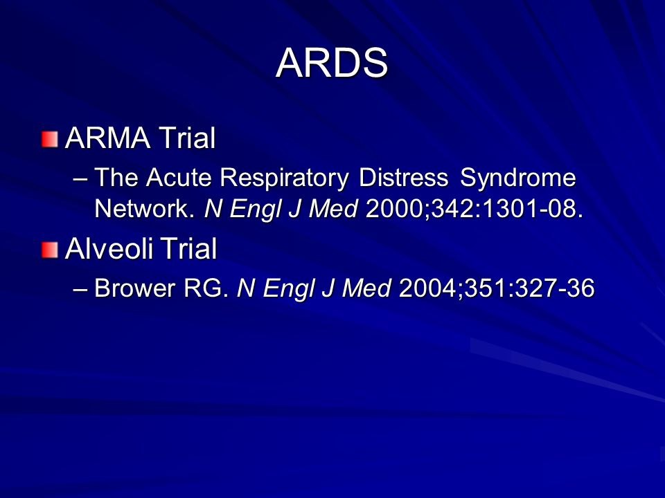 ARDS ARMA Trial Alveoli Trial