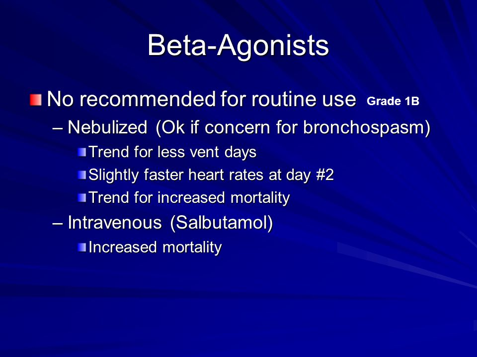 Beta-Agonists No recommended for routine use