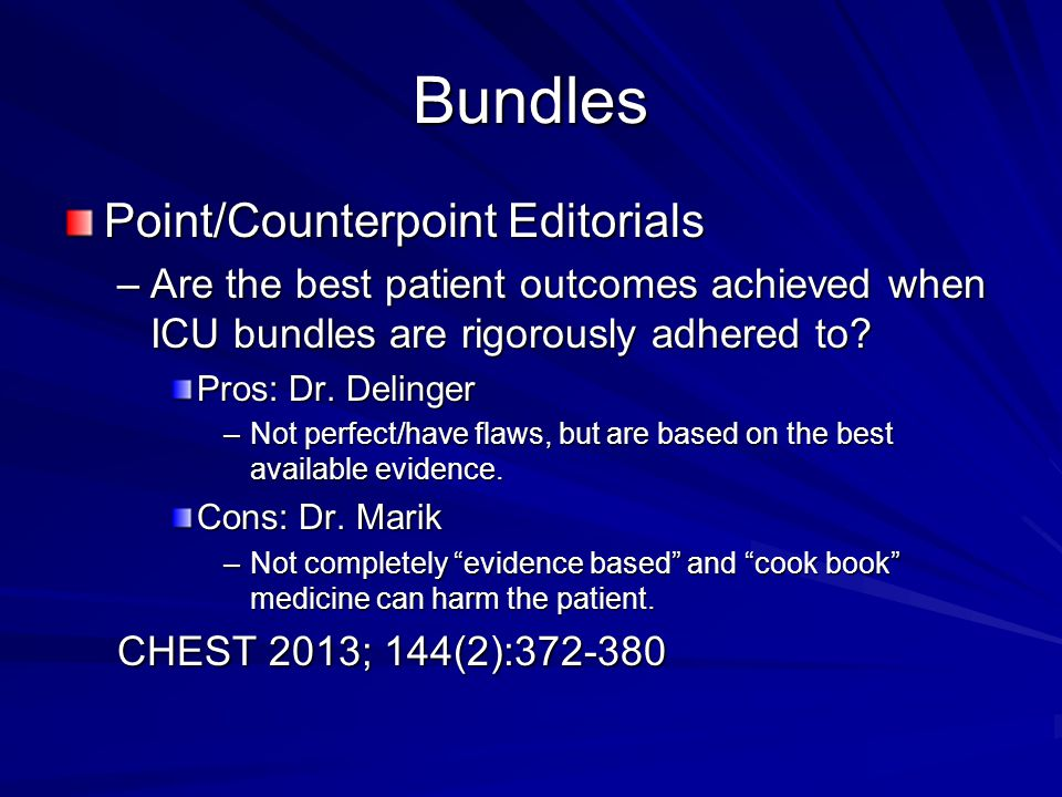 Bundles Point/Counterpoint Editorials