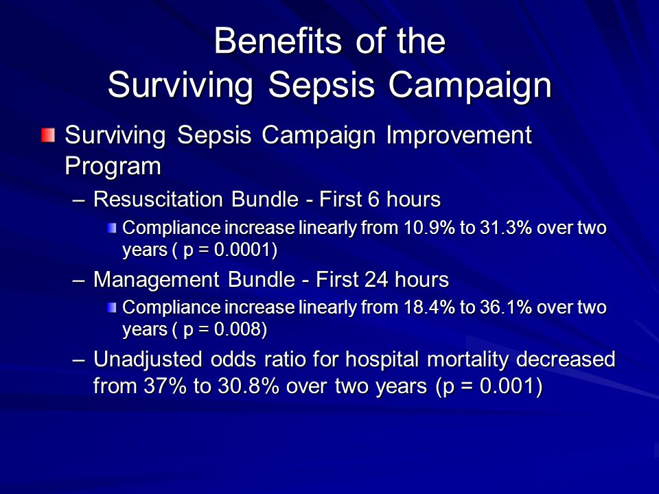 Benefits of the Surviving Sepsis Campaign