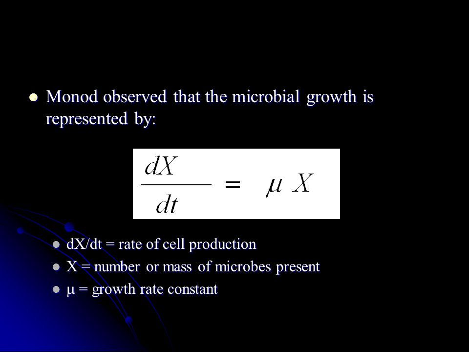 Monod observed that the microbial growth is represented by: