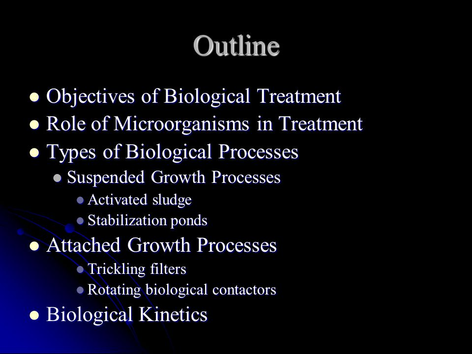 Outline Objectives of Biological Treatment