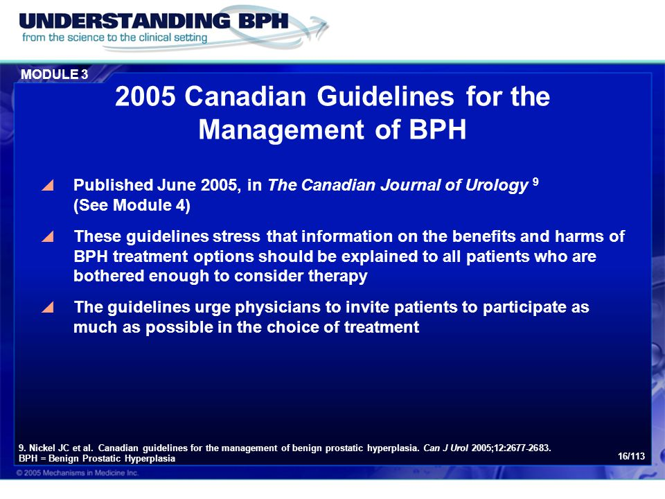 2005 Canadian Guidelines for the Management of BPH