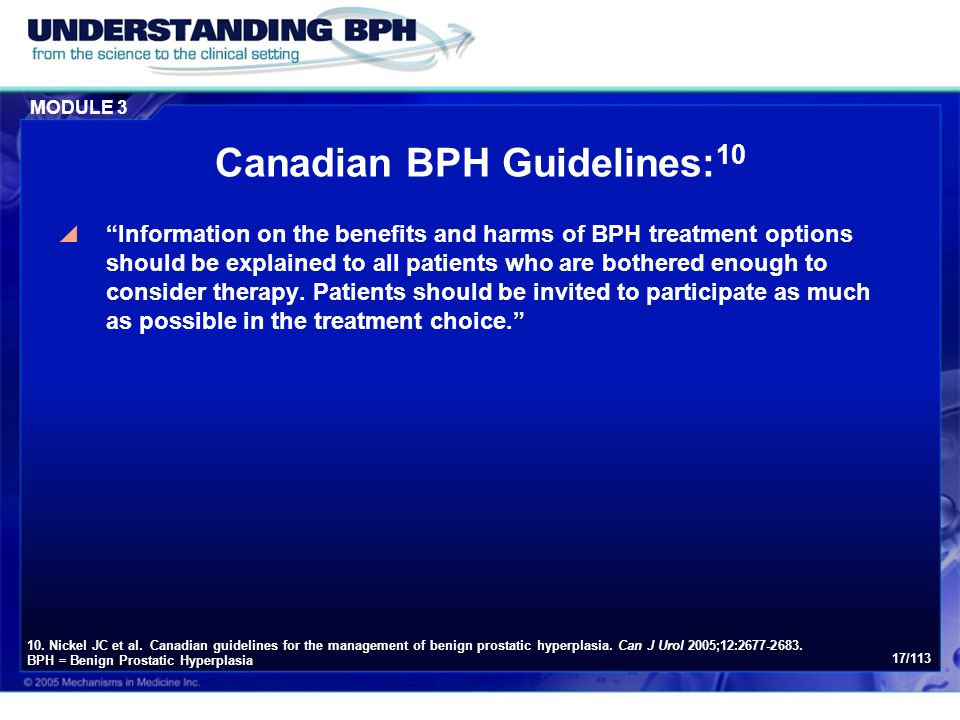 Canadian BPH Guidelines:10