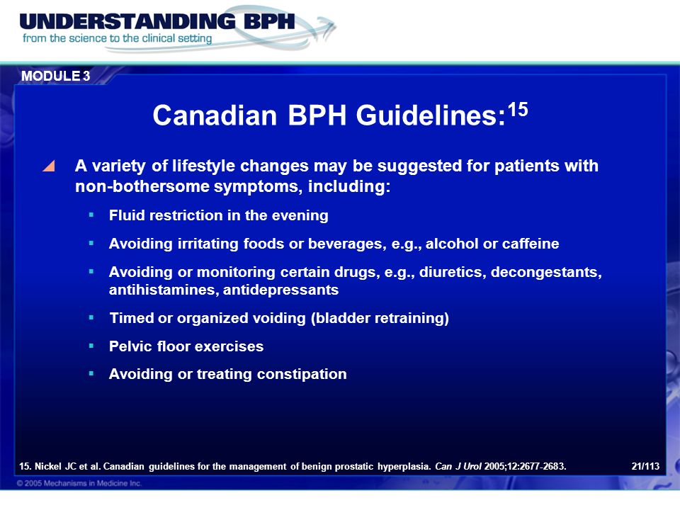 Canadian BPH Guidelines:15