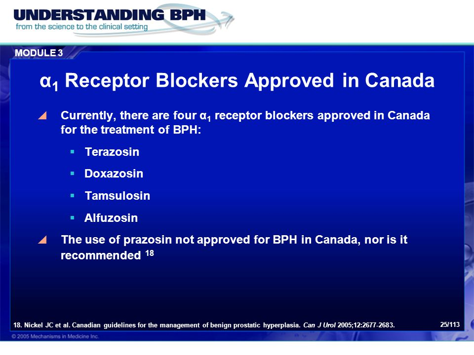 α1 Receptor Blockers Approved in Canada