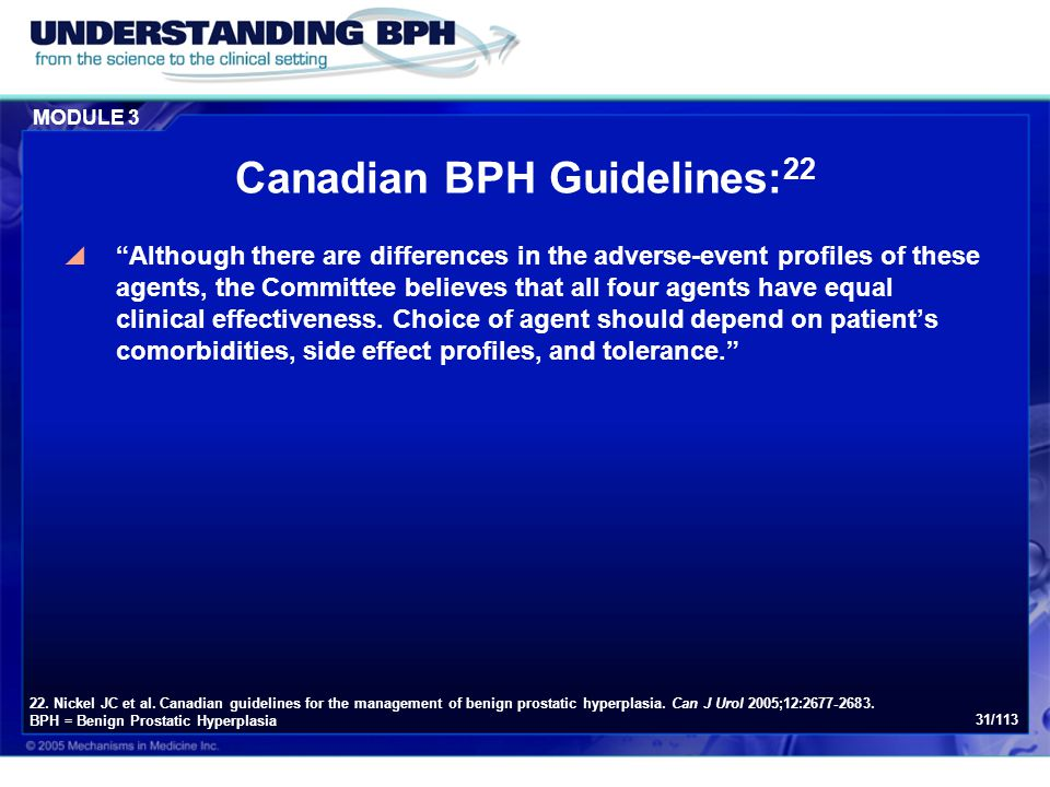 Canadian BPH Guidelines:22