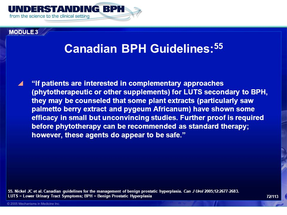 Canadian BPH Guidelines:55