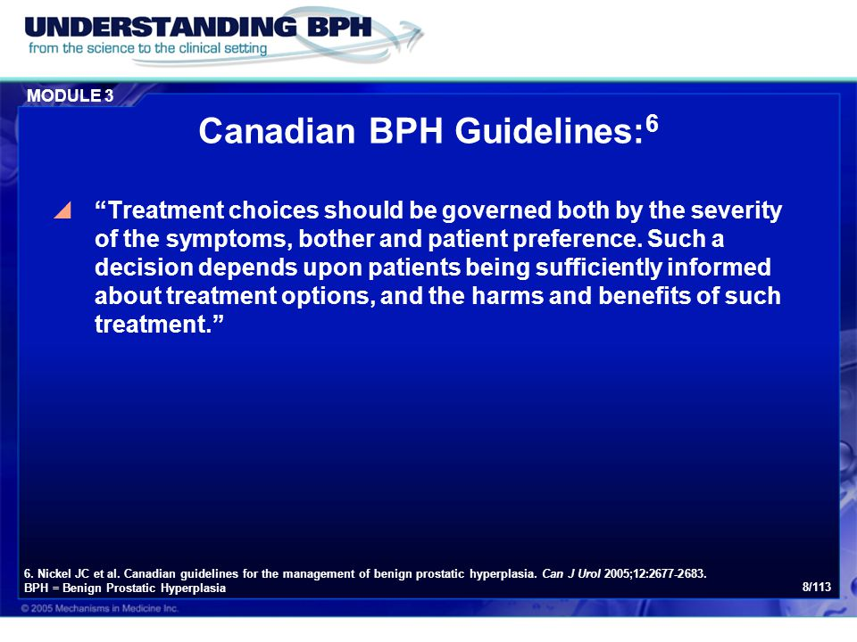 Canadian BPH Guidelines:6