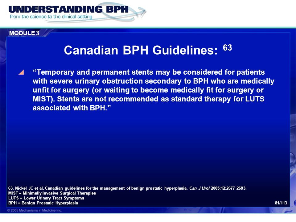 Canadian BPH Guidelines: 63
