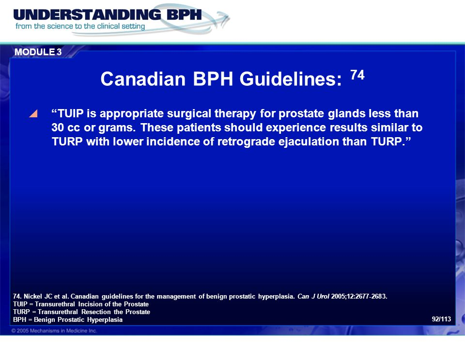 Canadian BPH Guidelines: 74