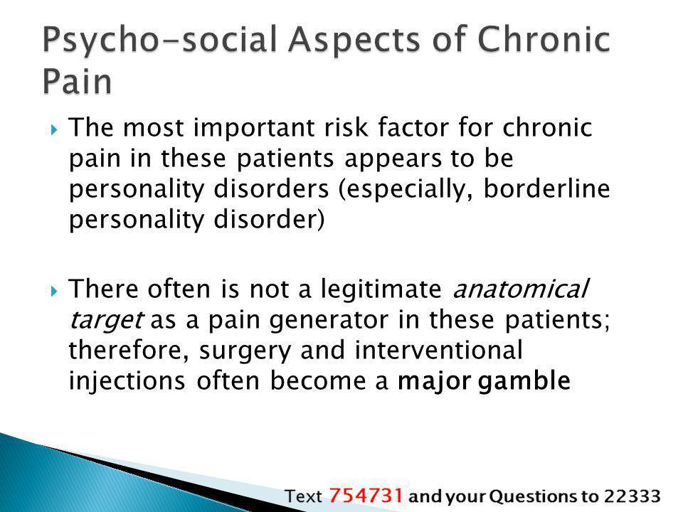 Psycho-social Aspects of Chronic Pain