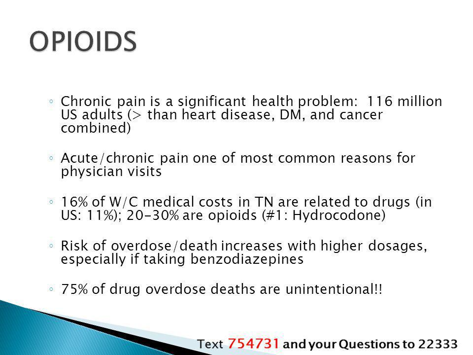 OPIOIDS Chronic pain is a significant health problem: 116 million US adults (> than heart disease, DM, and cancer combined)