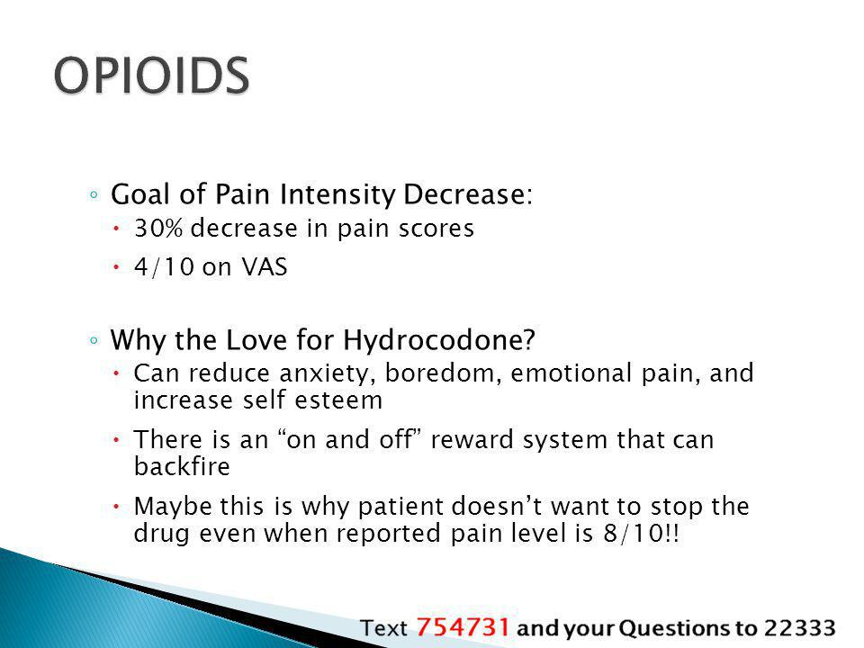 OPIOIDS Goal of Pain Intensity Decrease: Why the Love for Hydrocodone