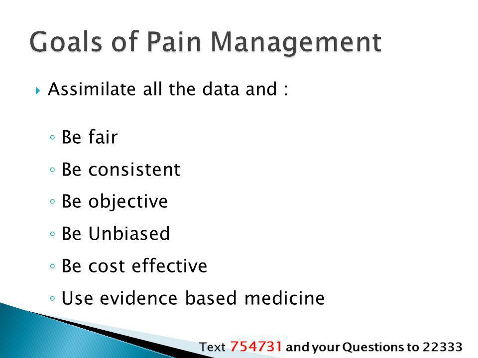 Goals of Pain Management