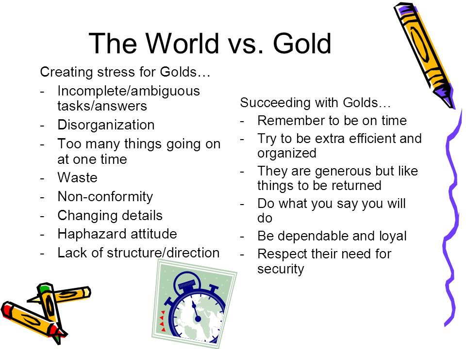 The World vs. Gold Creating stress for Golds…