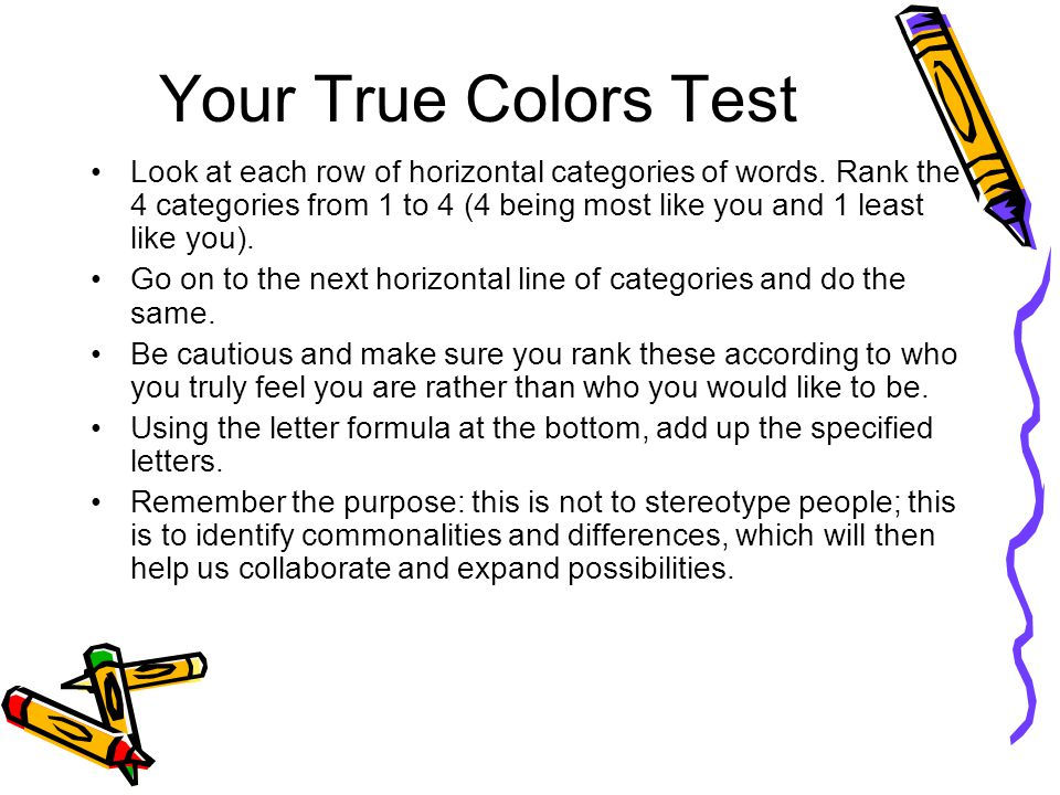 Your True Colors Test
