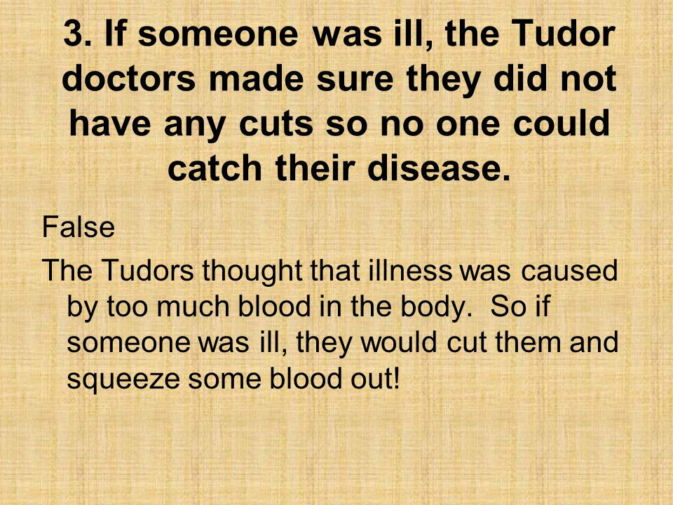3. If someone was ill, the Tudor doctors made sure they did not have any cuts so no one could catch their disease.
