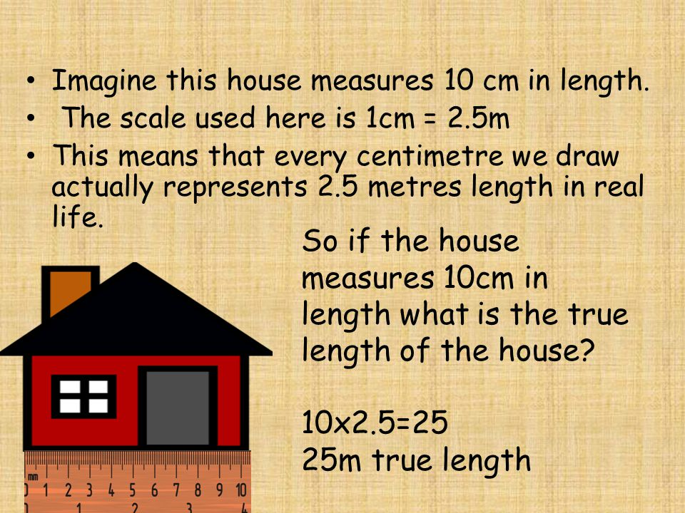 Imagine this house measures 10 cm in length.