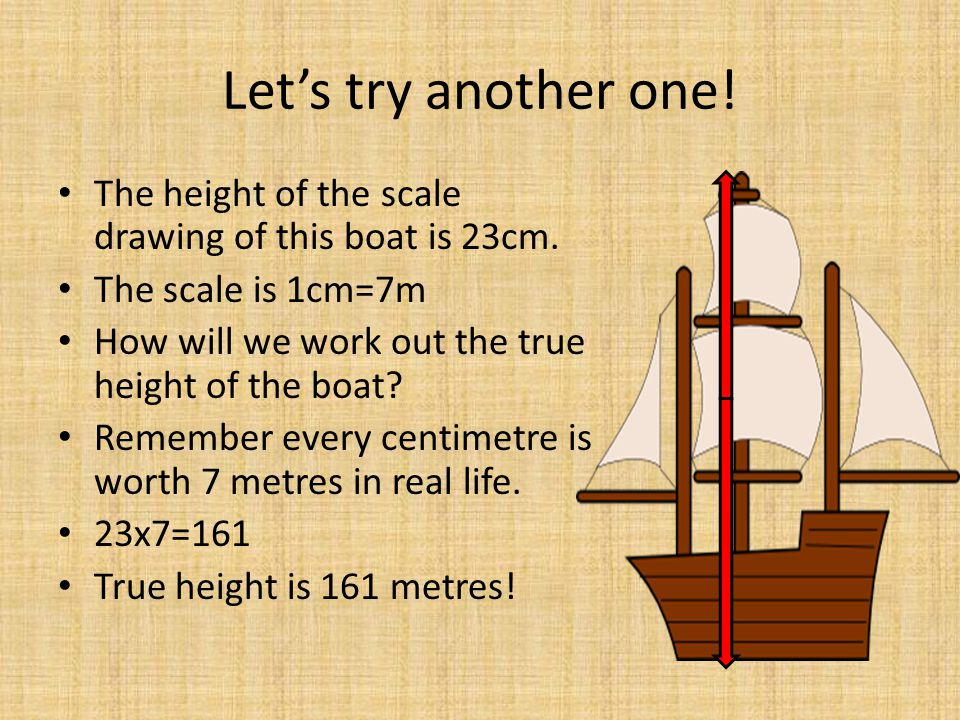 Let's try another one! The height of the scale drawing of this boat is 23cm. The scale is 1cm=7m. How will we work out the true height of the boat