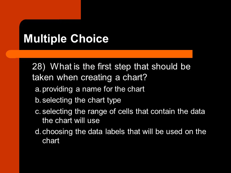 Multiple Choice 28) What is the first step that should be taken when creating a chart a. providing a name for the chart.