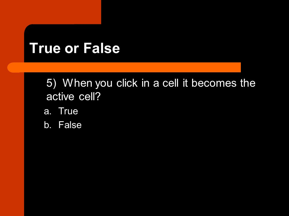 True or False 5) When you click in a cell it becomes the active cell