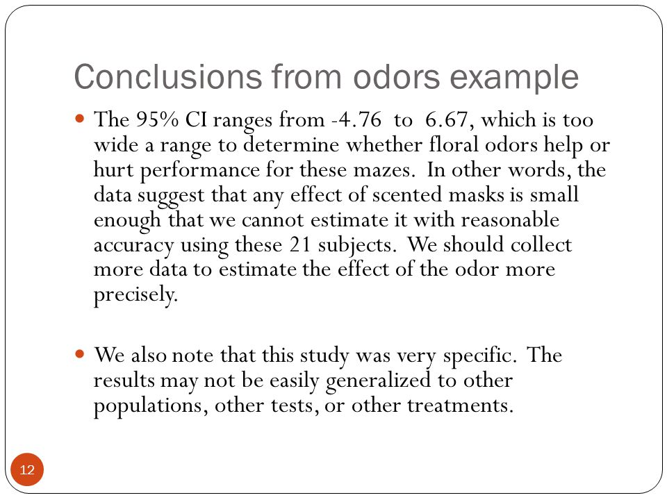 Conclusions from odors example