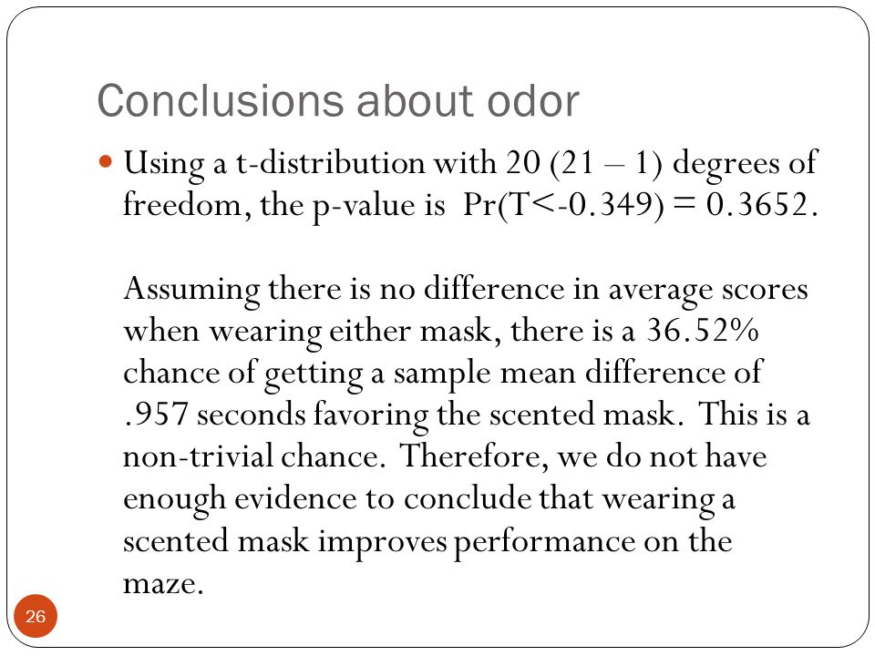 Conclusions about odor