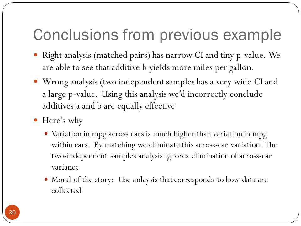Conclusions from previous example