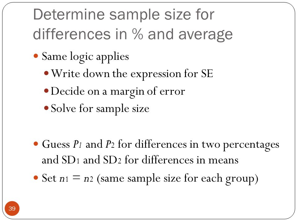 Determine sample size for differences in % and average