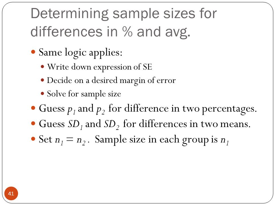 Determining sample sizes for differences in % and avg.